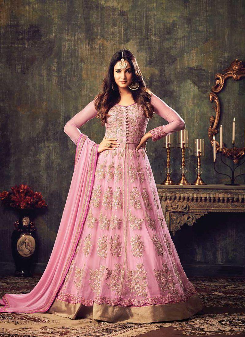 7446c357d32 Designer Attractive Floor Touch Pink Salwar Suit