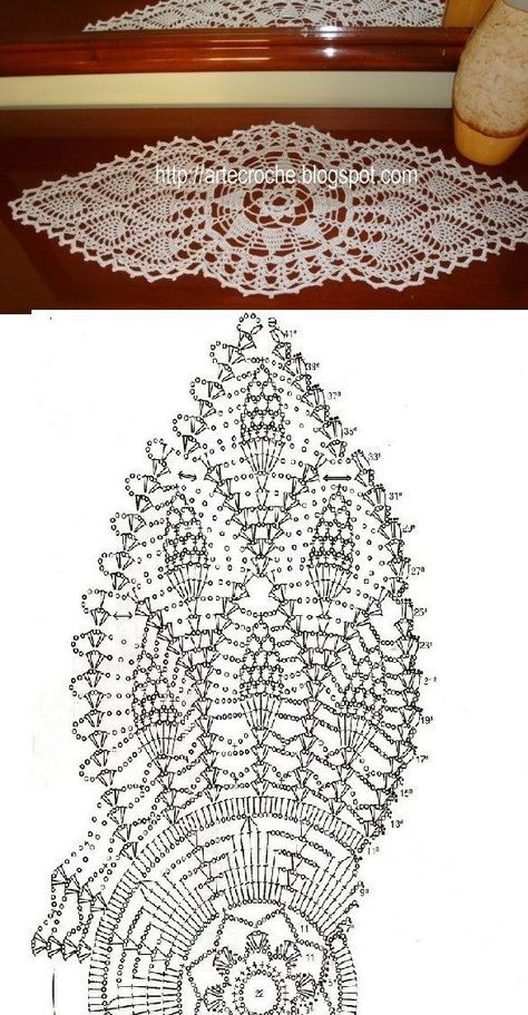 Round Pineapple Doily Diagram | Crochet para Carpetas | Pinterest ...