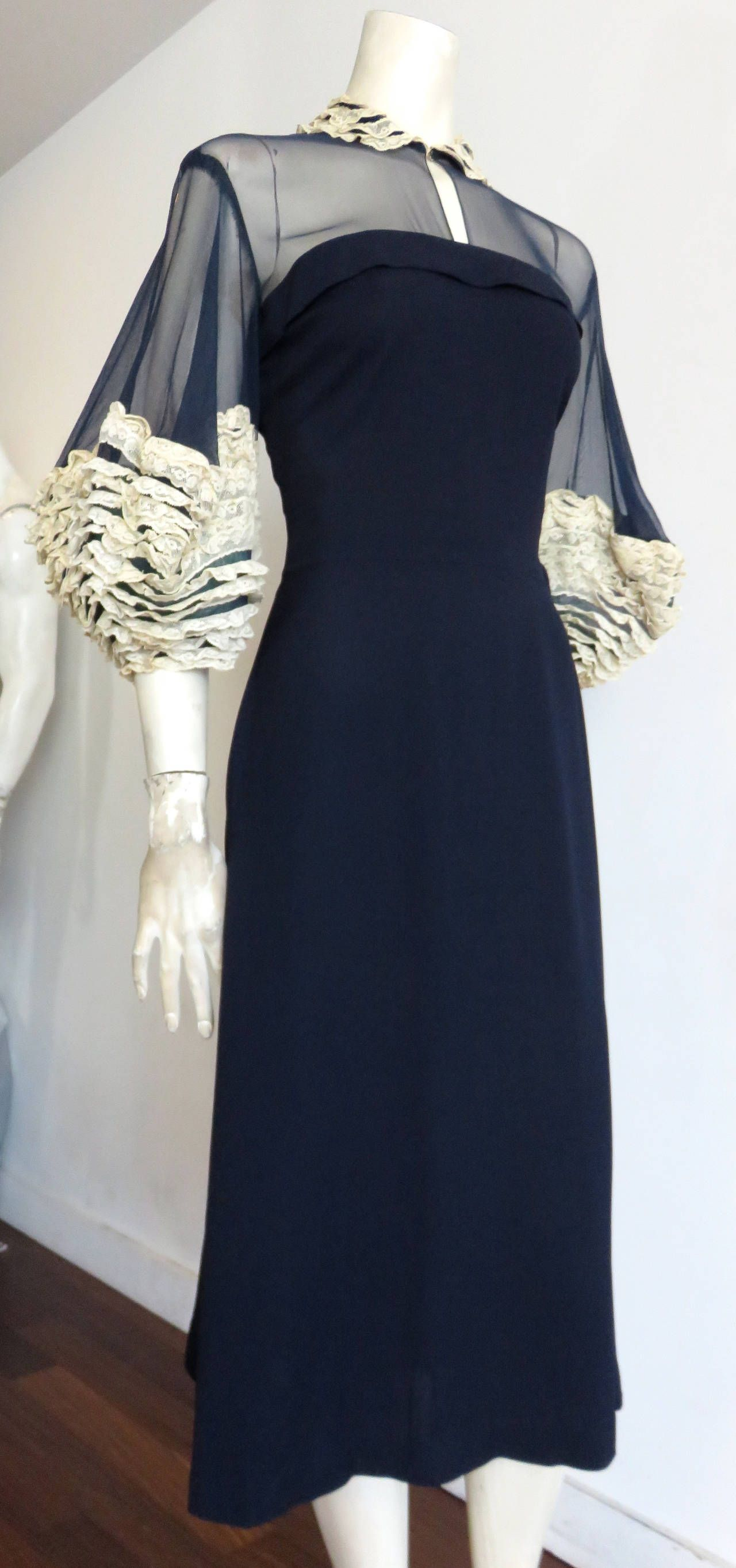 Us howard greer hollywood silk dress with lace detailing silk