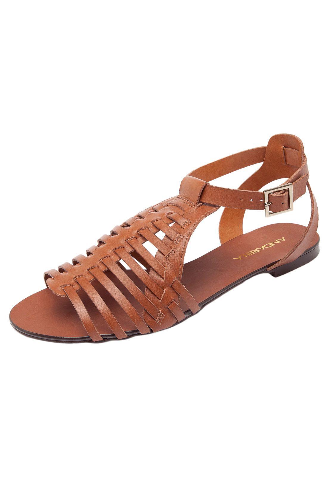 b40a601a3 Sandália Andarella Rasteira Marrom | zandalias | Sandalia, Sapatos ...