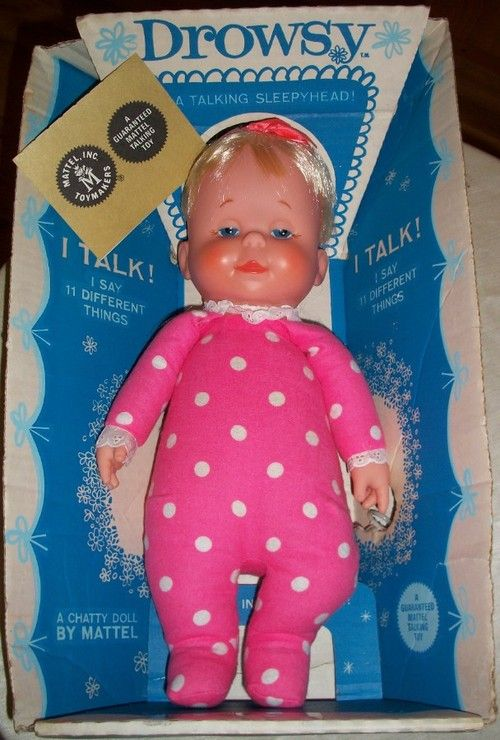 VINTAGE TOY ARCHIVE Note: I had this dolly when I was a child.  What a cutie pie. I called her 'Tok' because she talked. Logical. :) I also had the black doll who was adorable.
