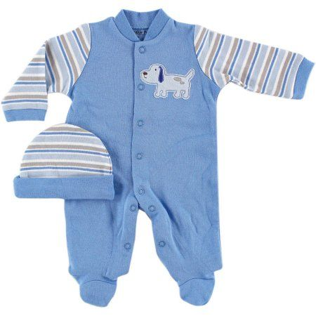 Luvable Friends Newborn Baby Boys Sleep N Play & Cap, Preemie, Newborn Boy's, Blue