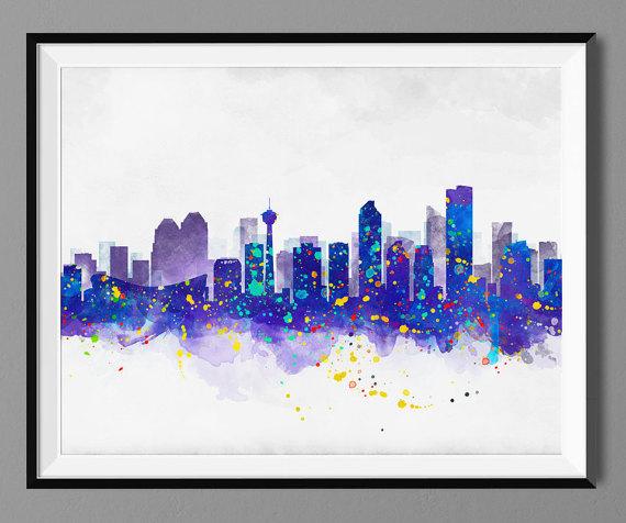 Calgary Skyline - Watercolor Art Print Poster - Housewarming, Home
