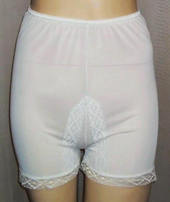 5d909f080da Ok I realized I am getting old--love the big panties Vintage White Nylon  Lace Tap Pants Pettipants Petti Panties Small X-Small Petite