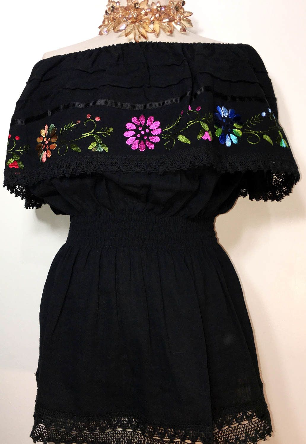 Off Shoulder Blouse Embroidered Mexico Hippie Boho Bohemian Frida