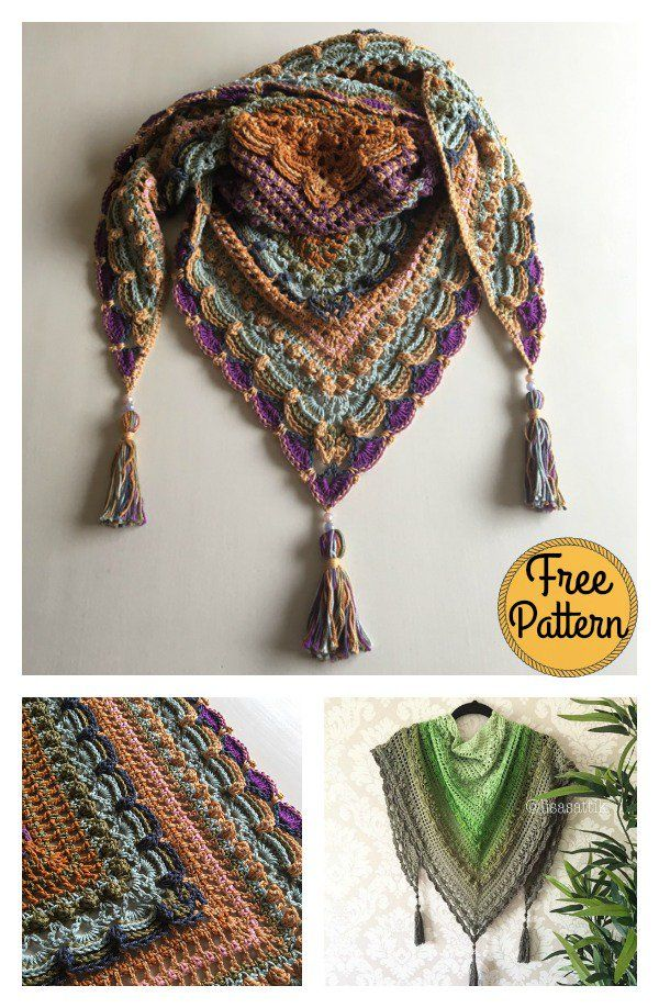Lost in Time Triangle Shawl Free Crochet Pattern #shawlcrochetpattern