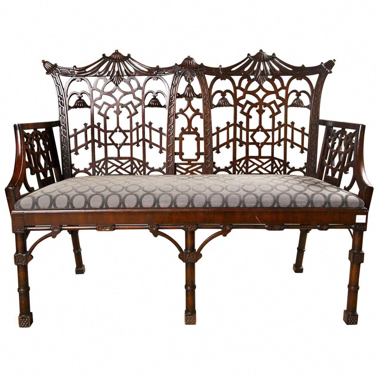 antique chinese chippendale settee canape antiquefurnitureforsale rh pinterest com
