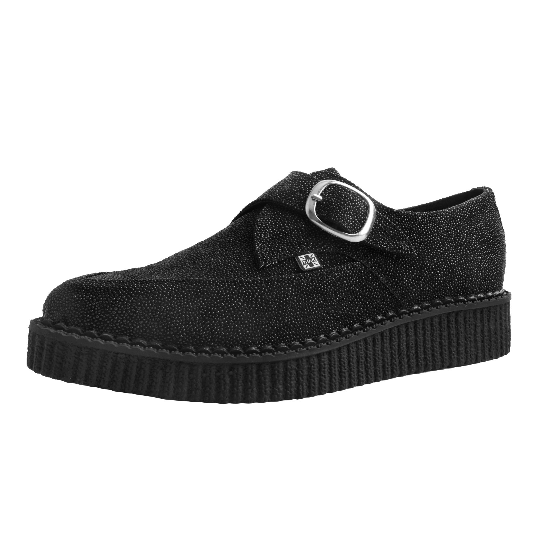 T.U.K. Shoes Black Stingray Leather Monk Buckle Pointed Creeper A2970