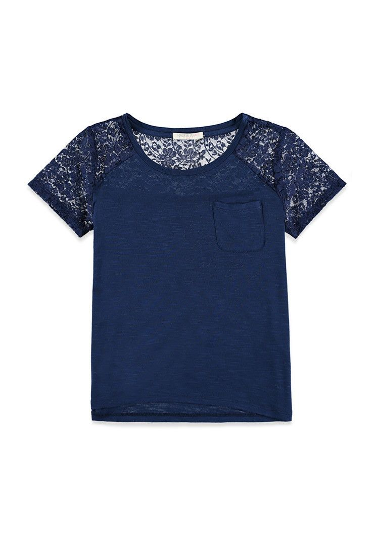 Girls Lace-Sleeved Pocket Tee (Kids)