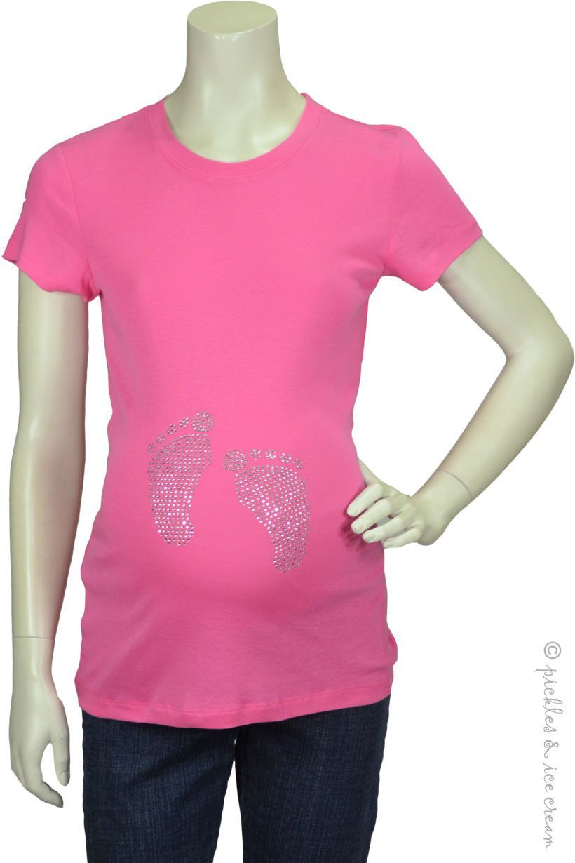 Blessence Maternity Pink Bling Baby Feet Tee