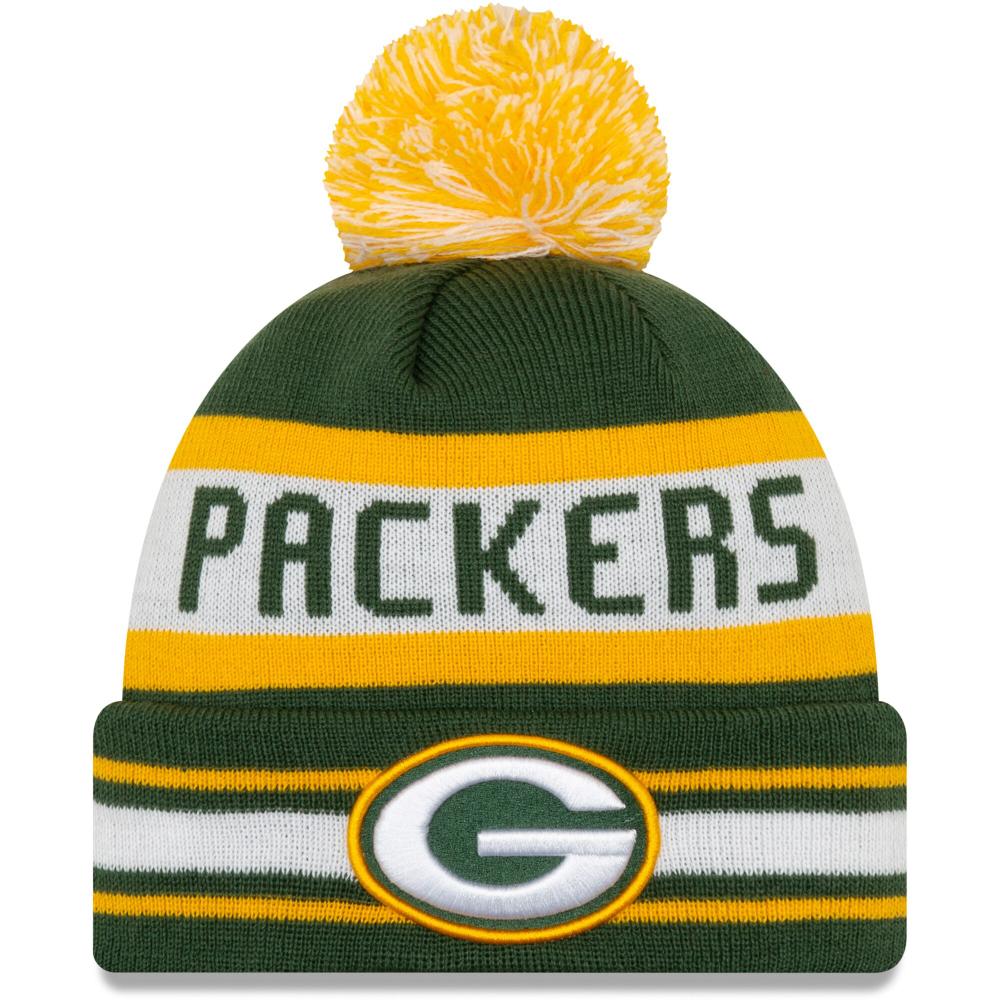 Green Bay Packers New Era Jake Striped Cuffed Knit Hat With Pom Green In 2020 Knitted Hats New Era Beanie Hat Pattern