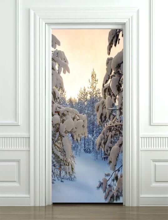 winter wall decal, snow wall sticker, door mural, snowing door mural
