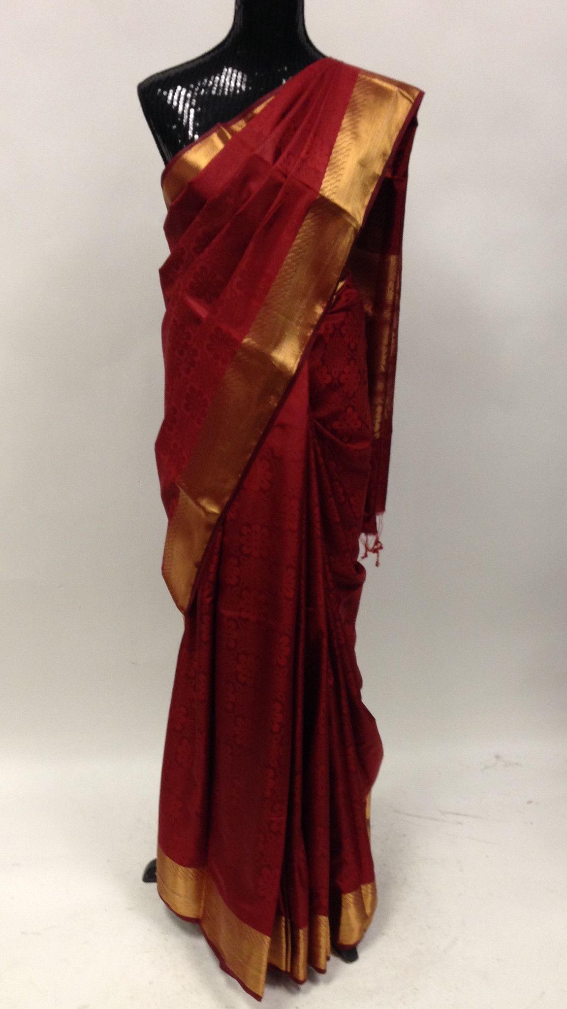 ab7b00fda2 Maroon plain silk saree with classic self print and heavy golden Zari border  & pallu. Elegant zari tissue pallu. 5.5 mts saree + 85 cms un-stitched  blouse. ...