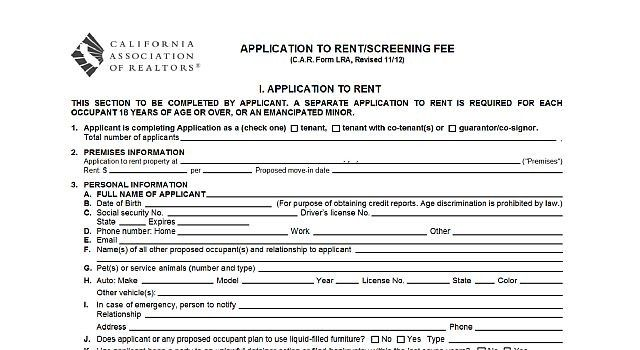 Printable Sample Rental Applications Form  Real Estate Forms Word