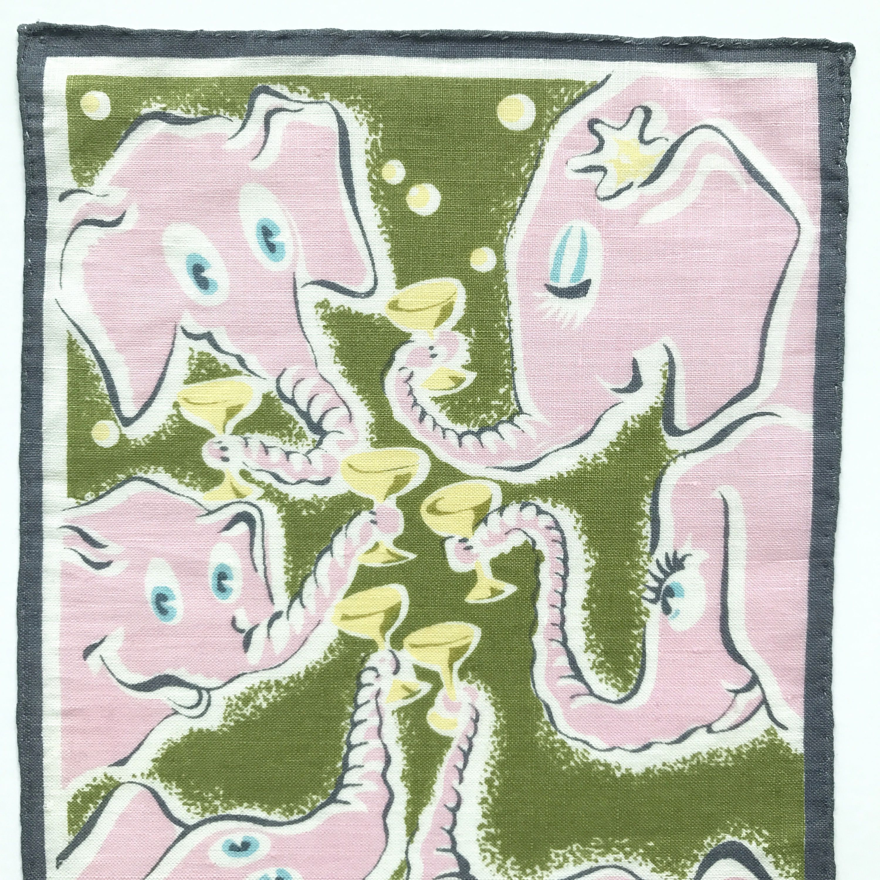 Cocktail Napkin Pink Elephants Textile Art Cheers Toast Martini Glasses by NeatoKeen on Etsy