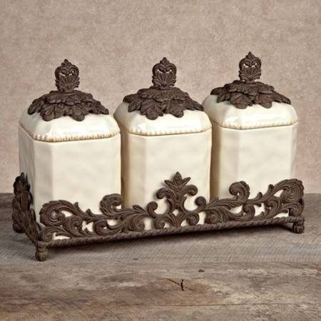 Captivating GG Collection Provencial 3 Piece Ceramic Kitchen Canister Set With Bronze  Metal Base   The GG