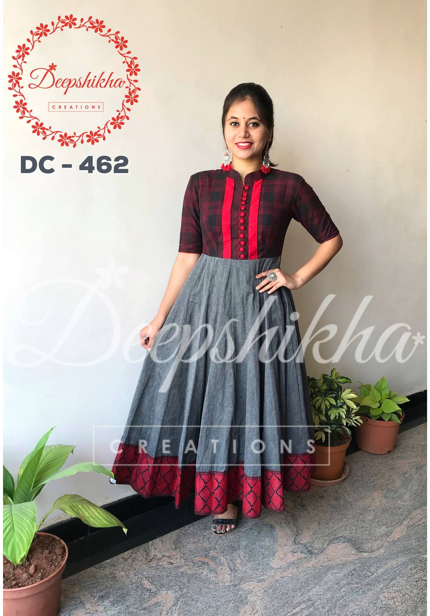 9cb1217afaa5d5 The elbow length sleeves of the top have matching border to the dress. For queries  kindly WhatsApp   +91 9059683293 20 January 2018
