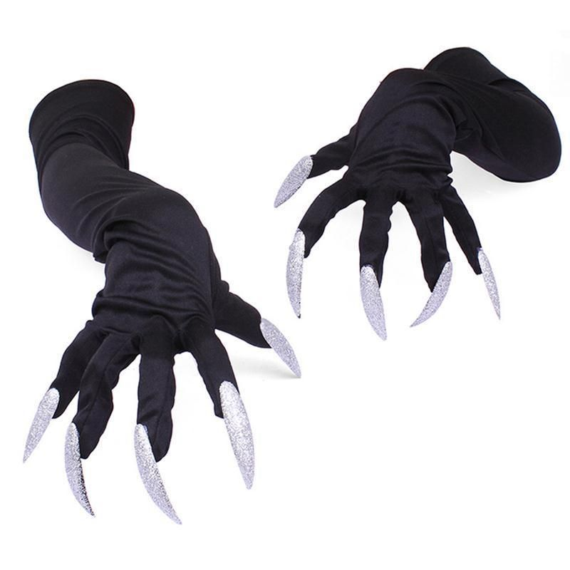 Black Gloves Long Nails Demon Devil Witch Halloween Party Costume Accessory YS