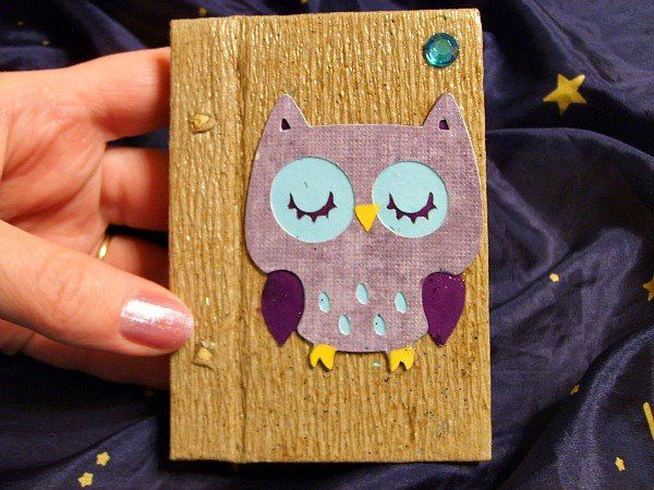 little owl notebook...Another use for those paint swatches ;)