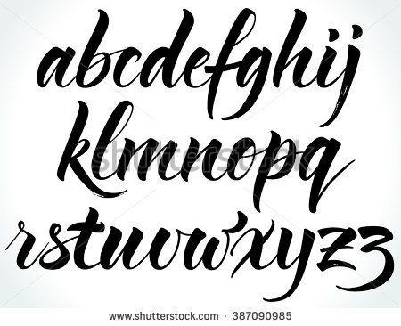 Brushpen Alphabet Modern Calligraphy Handwritten Letters Vector Illustration