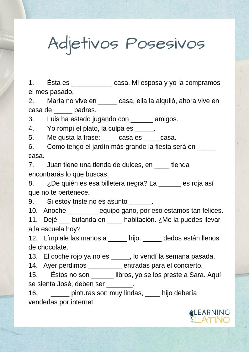 Possessives In Spanish Spanish Worksheets Possessive Adjectives Spanish Spanish Exercises [ 1123 x 794 Pixel ]