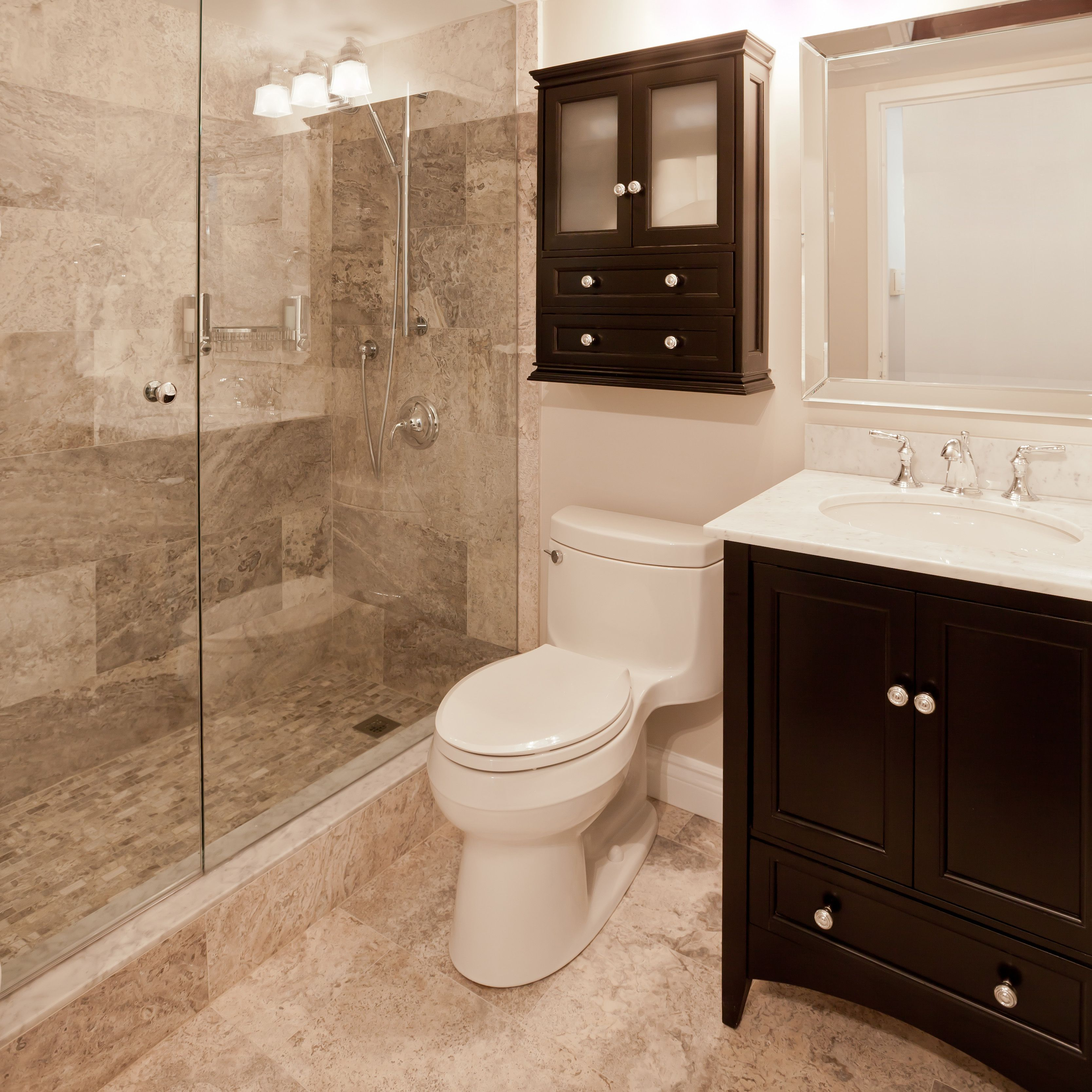 small sink vanity for small bathrooms%0A Beautiful small bath with walk in shower featuring travertine tile surround  tile flooring frameless glass enclosure