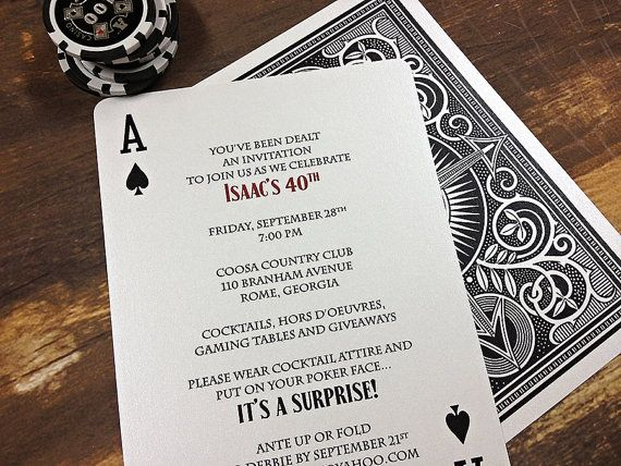 Poker Playing Card Shower, Party or Tournament Invitation DEPOSIT on Etsy, $20.00