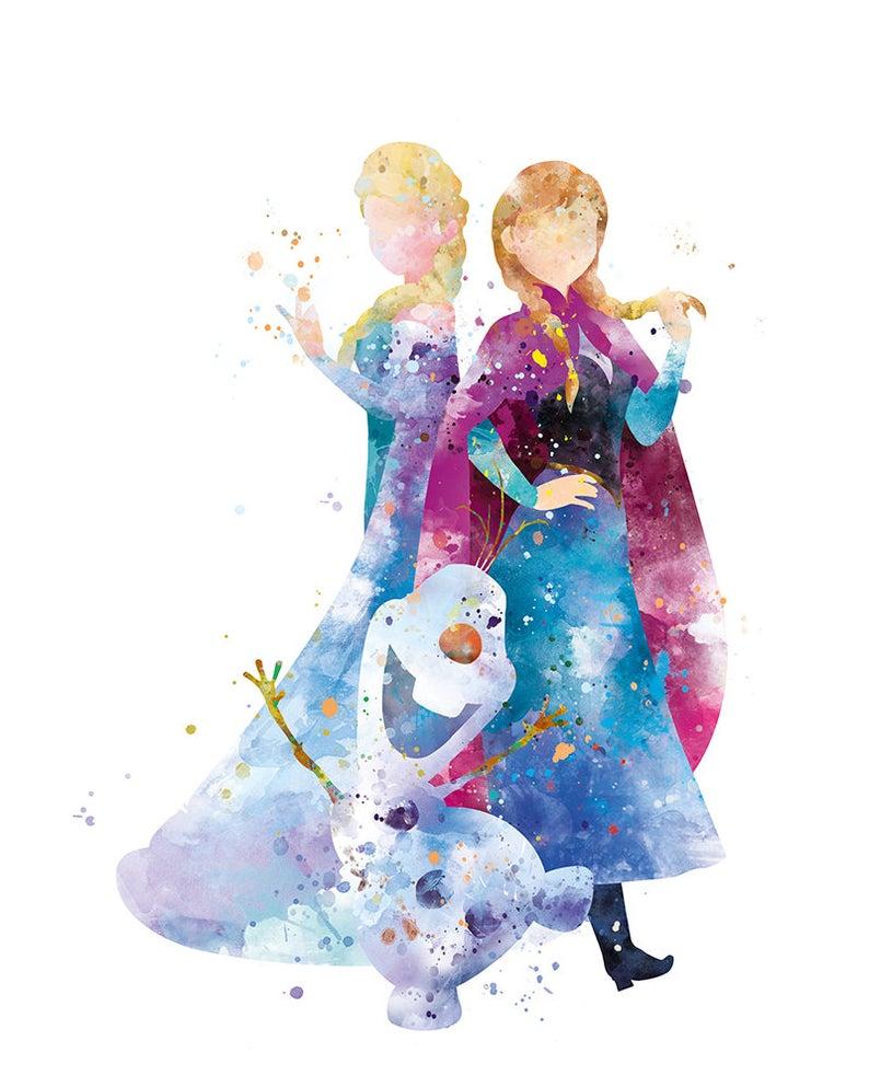 Anna Elsa Olaf Print Frozen Watercolor Princess Disney Anna Queen Frozen Gift Baby Girl Nursery Decor Christmas gift Wall Art Download