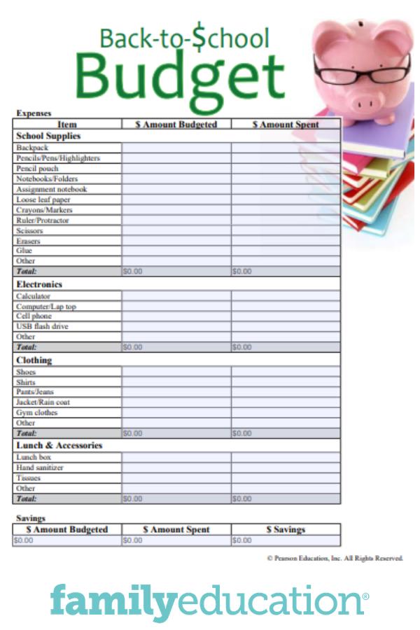 BacktoSchool Budget Printable Budgeting, Budget