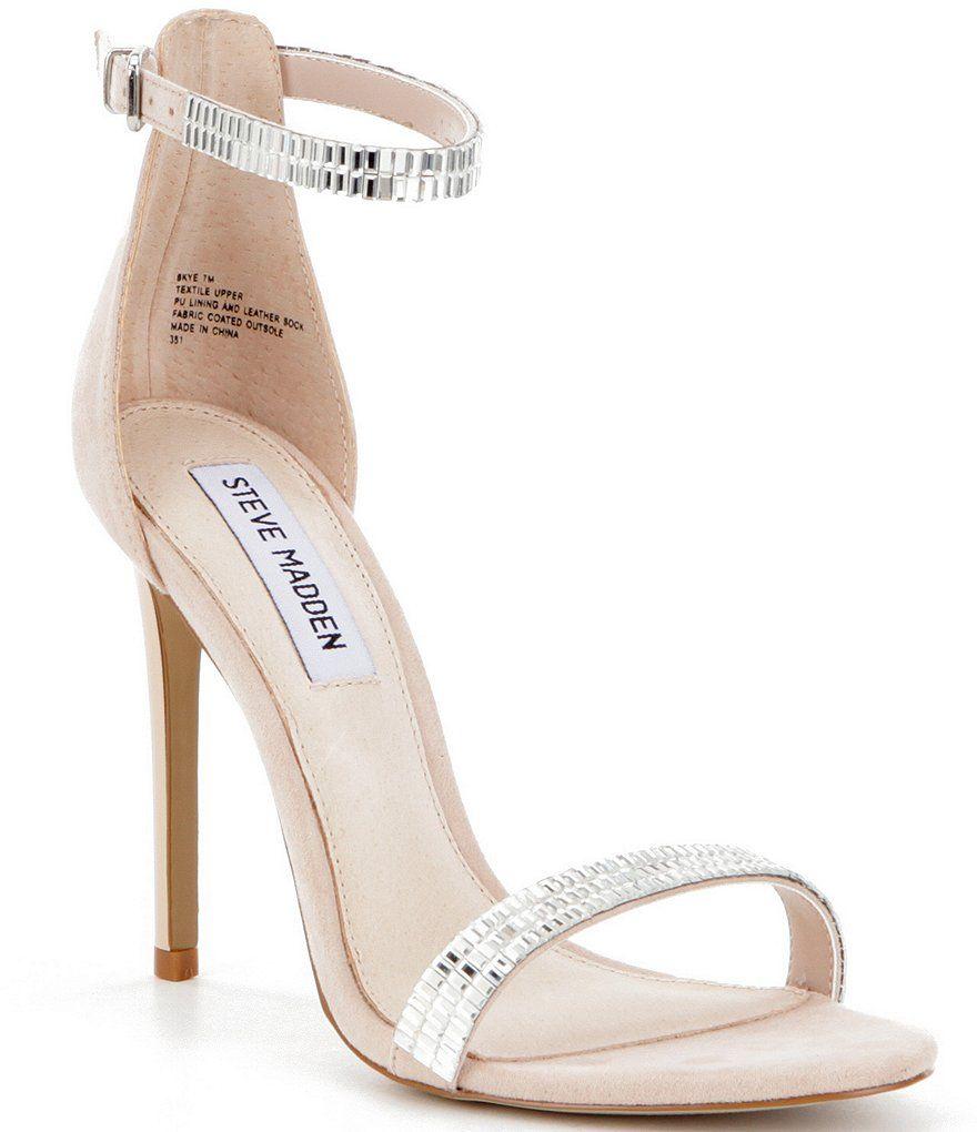Steve Madden Skye Stone Embellished Ankle Strap Dress Sandals