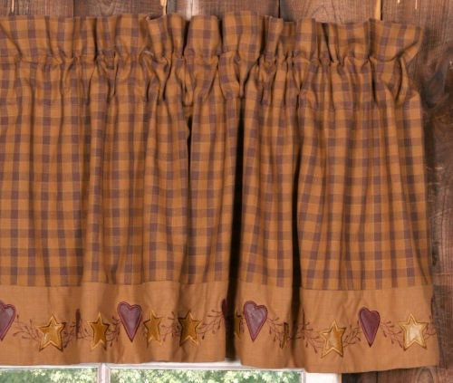 New Primitive Country Folk Art STAR HEART BURGUNDY TAN VALANCE Window Curtain