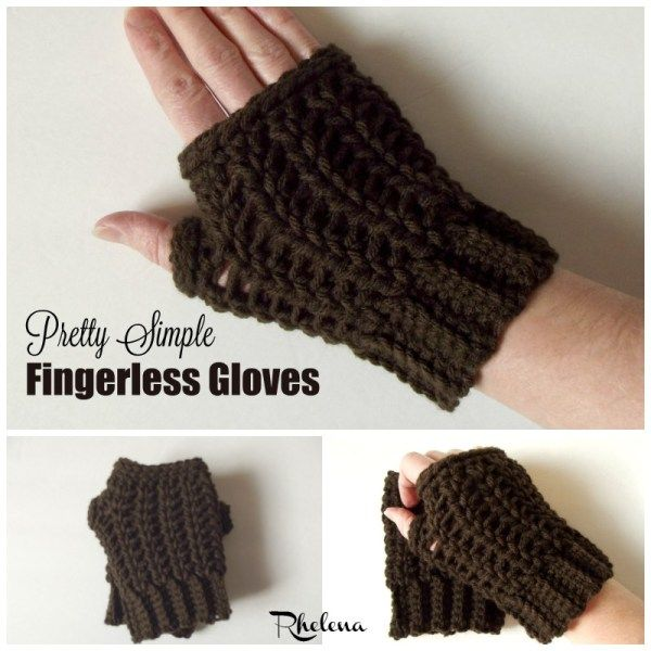 FREE crochet pattern for the Pretty Simple Fingerless Gloves by ...