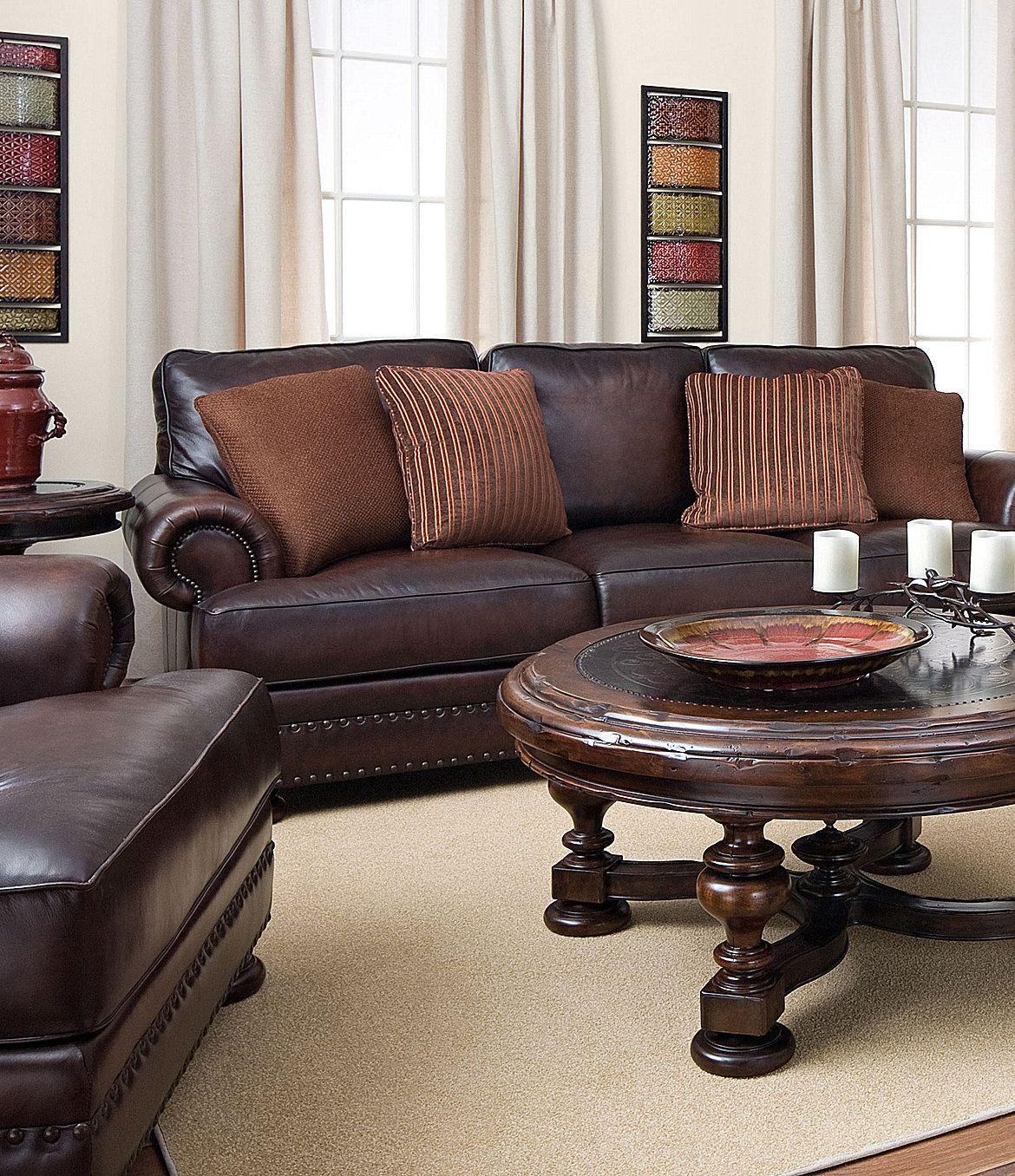 living room ideas with leather furniture%0A Bernhardt   Seth   Leather Sofa   Dillards com