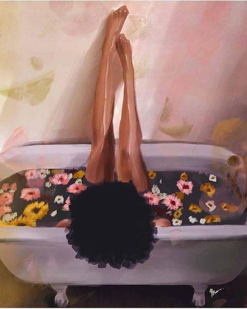 African American woman, melanin, flowers and bath, relaxing, curly fro, Art Print