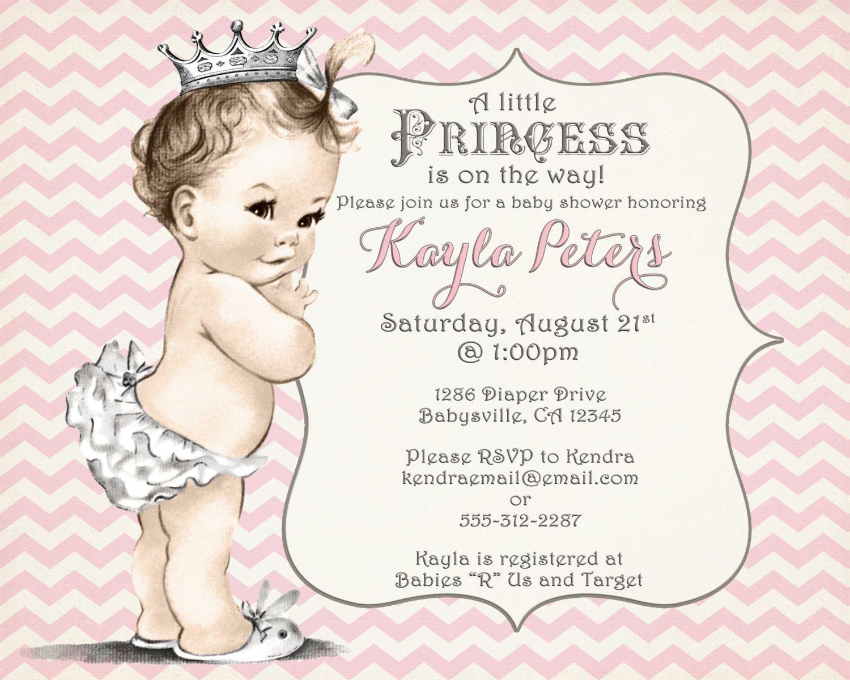 Baby shower invitations for girls - Girl Baby Shower Invitation Chevron Princess For Girl Pink And Grey Princess Vintage Diy Printable