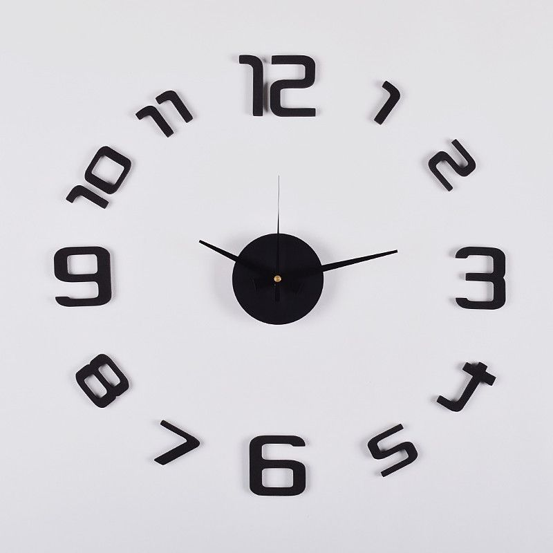 3d Frameless Wall Clock 20 Flexible Size Black Clock Diy Clock Wall