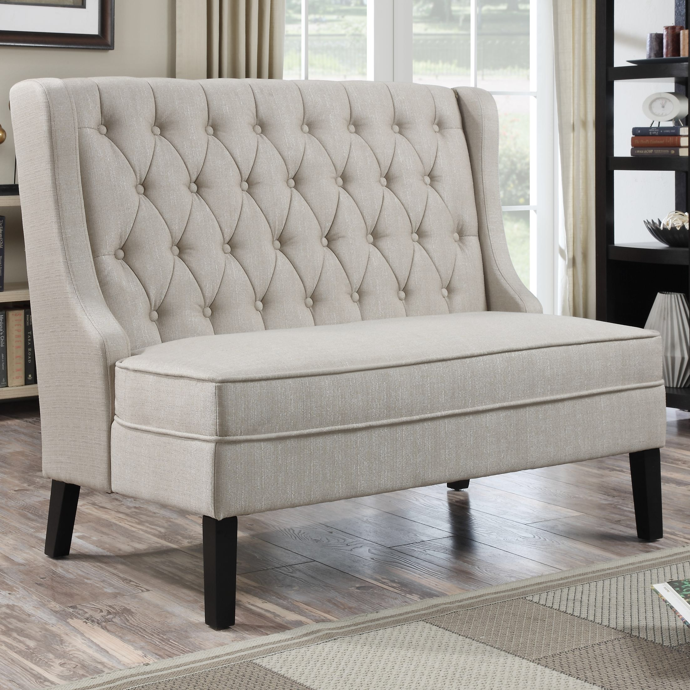 Dining room table with upholstered bench  Upholstered Banquette in Oatmeal  furniture  Pinterest