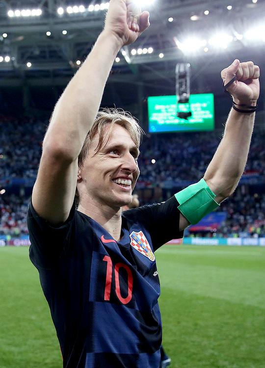 World Cup: Luka Modrić celebrates the 3-0 victory vs Argentina | June 21, 2018