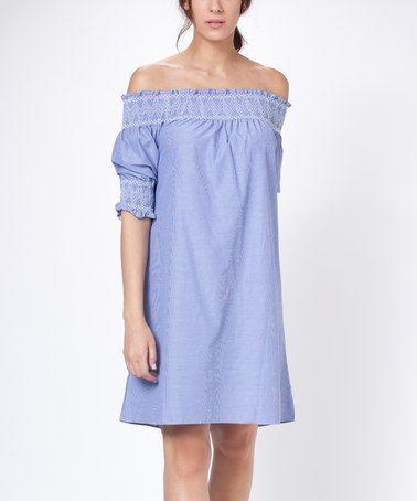 Look what I found on #zulily! Blue Off-Shoulder Shift Dress #zulilyfinds