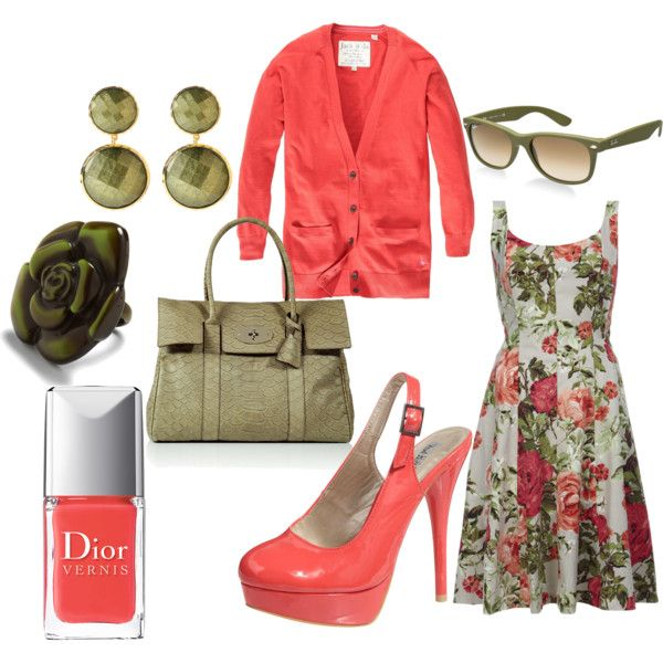 Forrest Green and Coral, created by stephanie-cardwell on Polyvore