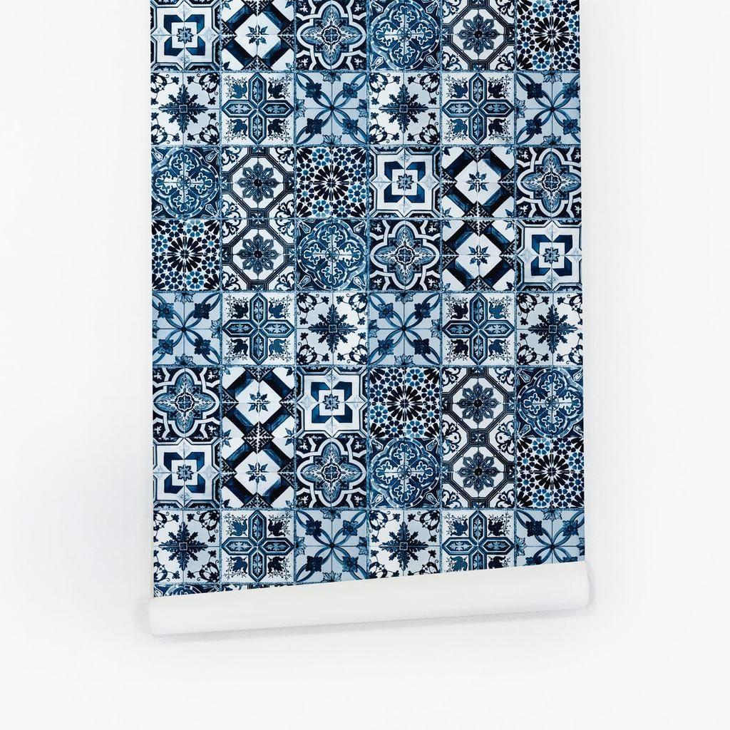 Geometric moroccan pattern blue tile wallpaper for