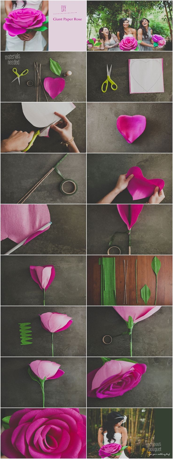 DIY Giant Paper Rose Flower  flores de papel  Pinterest  Flower