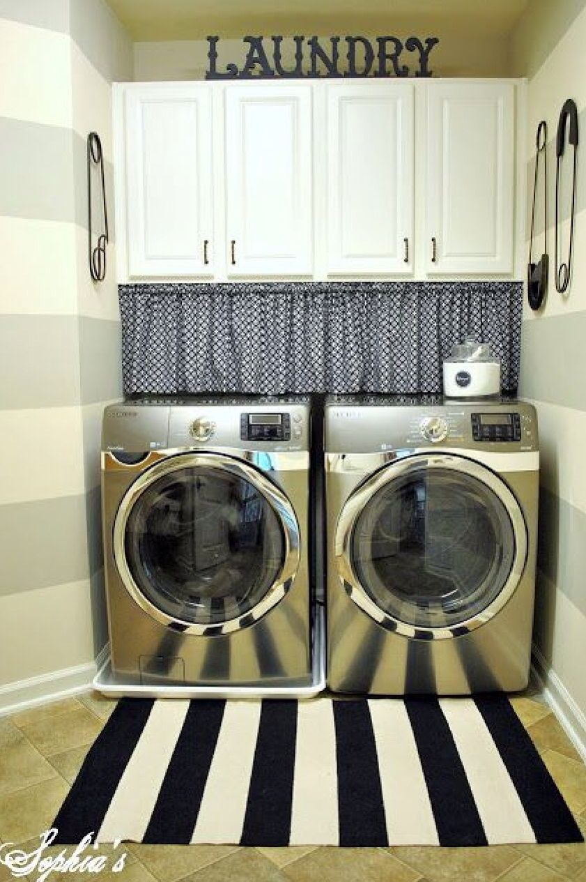 Great Way To Hide The Gap Between The Washer Dryer And Cabinets Laundry Room Laundry Room Makeover Laundry Room Design