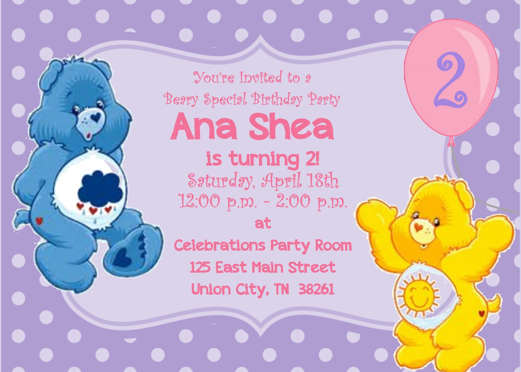 Care bears invitation custom made for you by thepaperpennytfire care bears invitation custom made for you by thepaperpennytfire monicamarmolfo Choice Image