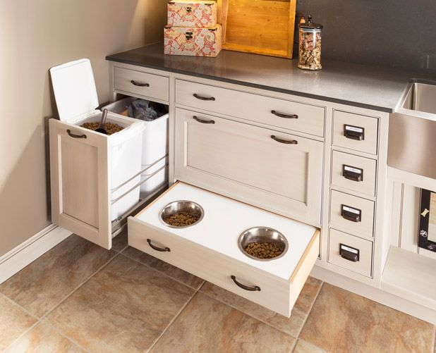 Custom drawer inserts are one way to keep a space organized and dog-friendly. Wood-Mode works with clients to tailor each Pet Parlor component, including drawers, to owners' individual needs.  - HouseBeautiful.com CabinetsAndDesigns.net