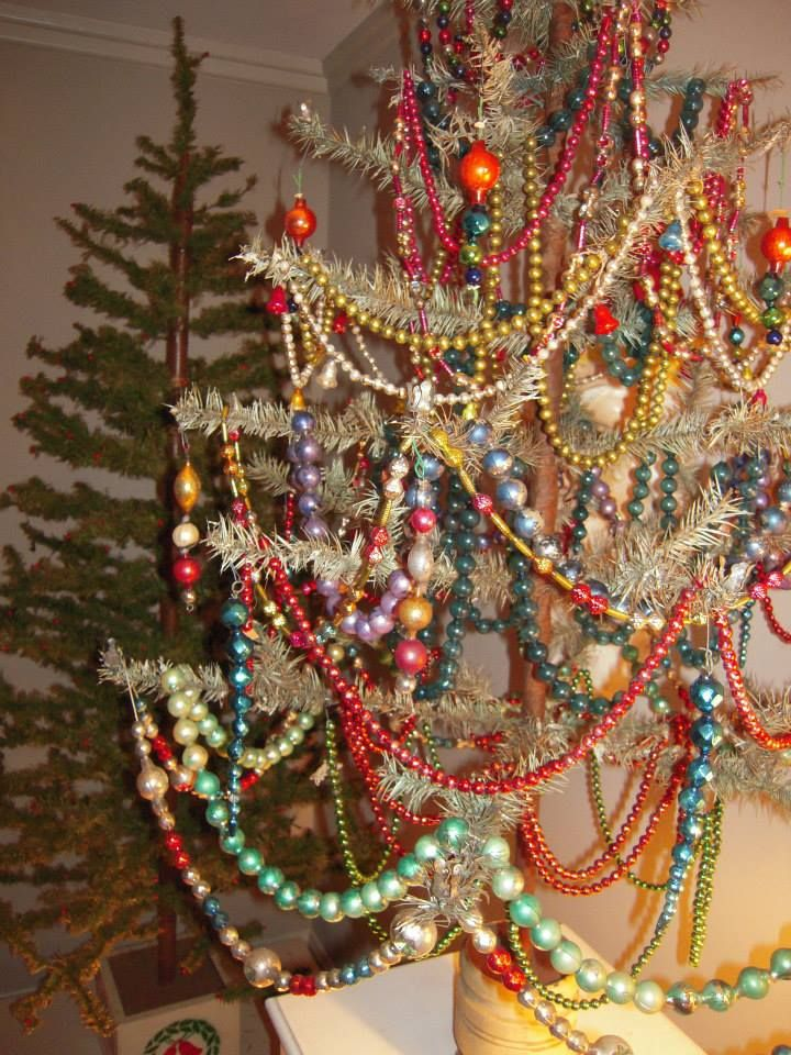 Feather Tree With Vintage Glass Garlands Christmas Christmas