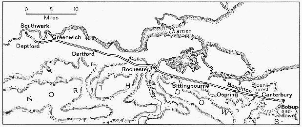 map of pilgrimage to canterbury