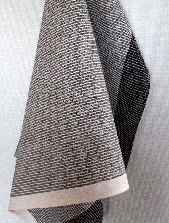 linen cotton dish towels striped black white gray by initasworks rh pinterest com