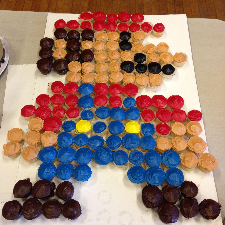 Mario pixels food chess board cake