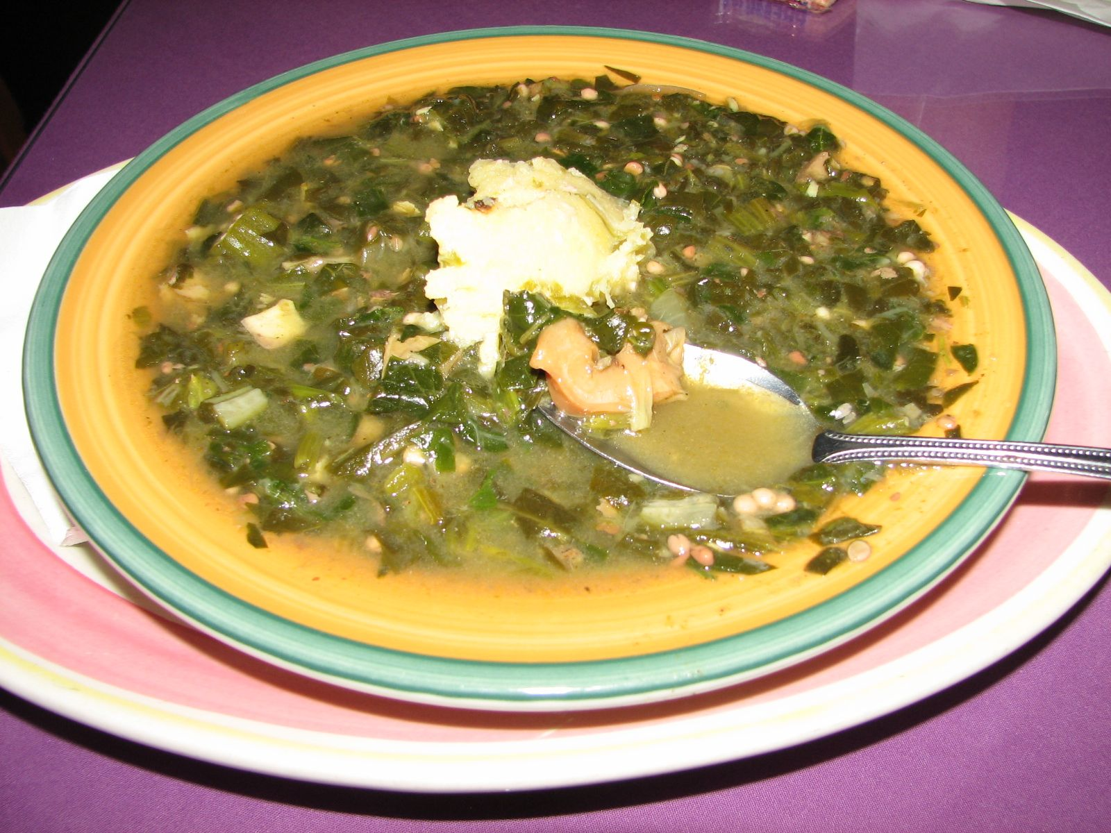 Seafood Callaloo With A Dollop Of Funji From Cuzzin S Restaurant On St Thomas Us Virgin Islands